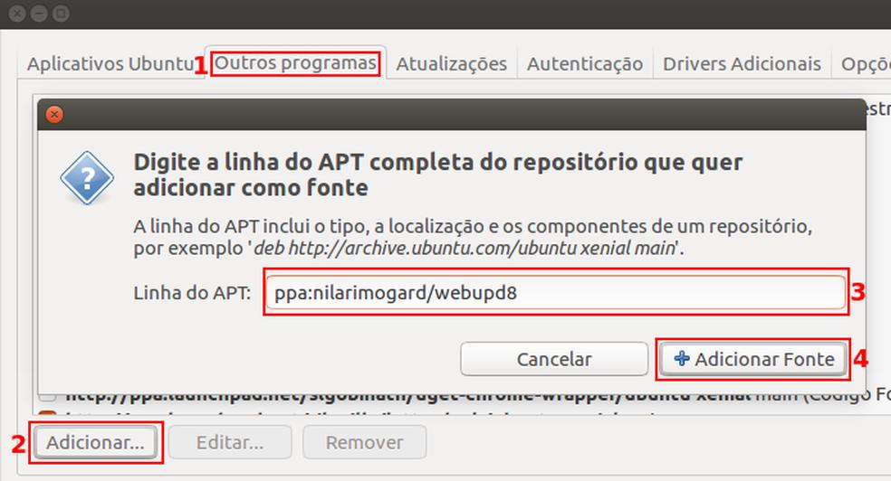 Adicionando uma nova fonte de software no Ubuntu (Foto: Edivaldo Brito/TechTudo)