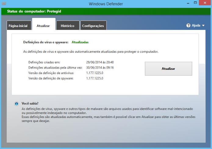 Atualizando Windows Defender (Foto: Reprodução/Helito Bijora)