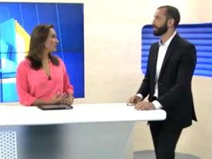 Liara Nogueira e o especialista em segurança Daniel Saraiva (Foto: Reprodução/TV Gazeta)