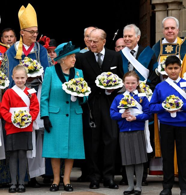 Rainha Elizabeth e Prícipe Philip em evento no dia 13 de abril (Foto: Getty Images)