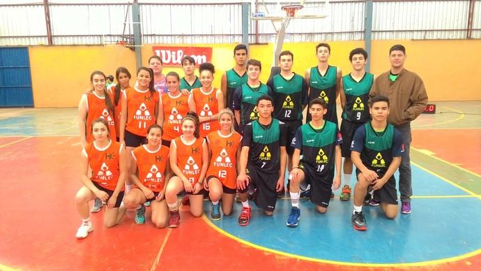 Times de basquete da Funlec nos Jogos Escolares da Juventude (Foto: Divulgação/Fundesporte)