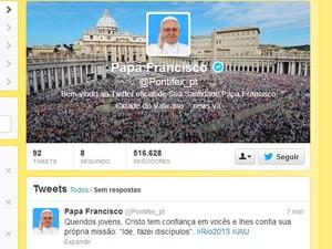 Post do Papa Francisco no Twitter (Foto: Reprodução)