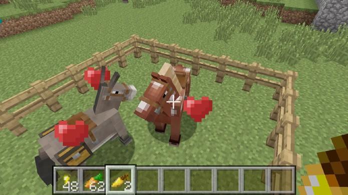 Alimente o cavalo e o burro com a maçã ou cenoura dourada para colocá-los em modo de reprodução em Minecraft (Foto: Reprodução/Rafael Monteiro)