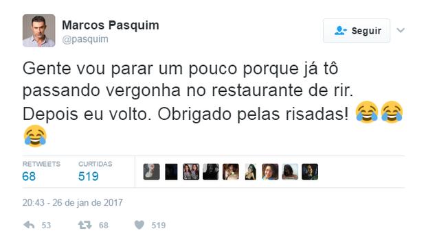 Marcos Pasquim se diverte com brincadeira no Twitter (Foto: Reprodução/Twitter)