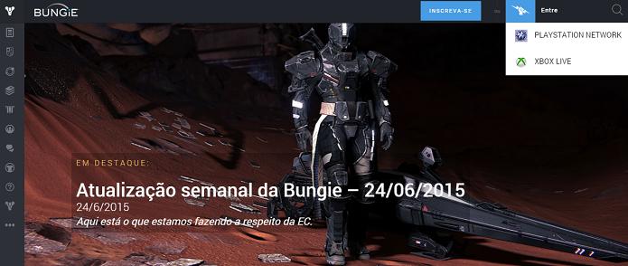 Faça login no site da Bungie (Foto: Reprodução/Thiago Barros)