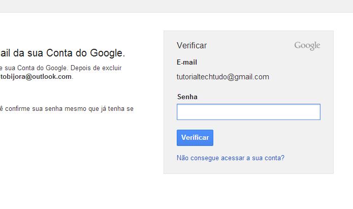 Digite sua senha para excluir o Gmail permanentemente (Foto: Reprodução/Helito Bijora)