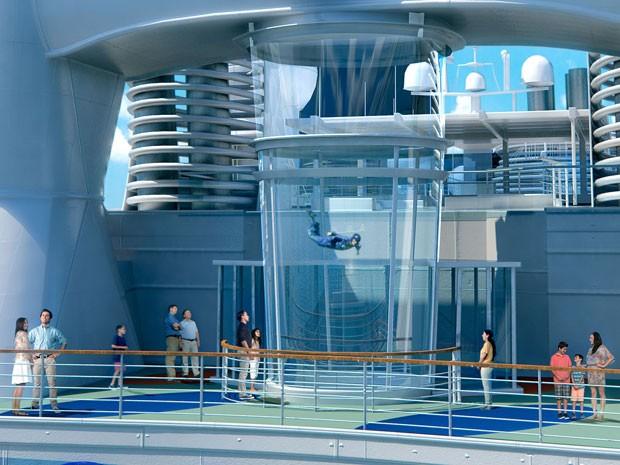 Perspectiva artística do navio Quantum of the Seas, da Royal Caribbean; simulador de paraquedismo (Foto: Divulgação/Royal Caribbean)