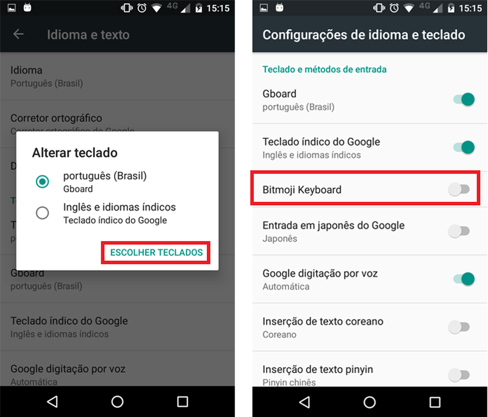 Ativando o teclado Bitmoji no Android (Foto: Reprodução/Ana Marques)
