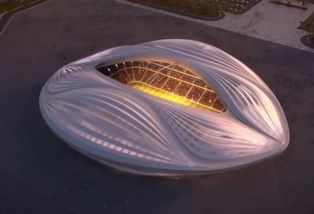 Estádio da Copa no Qatar em 22 que lembra formato de vagina se tornou piada entre usuários na web (Foto: Reprodução/YouTube/AECOM)