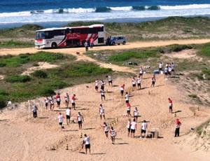 Joinville faz treino físico nas dunas de Praia Grande (Foto: Divulgação, Joinville)