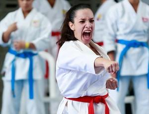 Luiza Fonseca, carateca de Uberlândia na categoria 16 e 17 anos, acima de 59 kg (Foto: Geraldo De Paula/AE/Brasil)