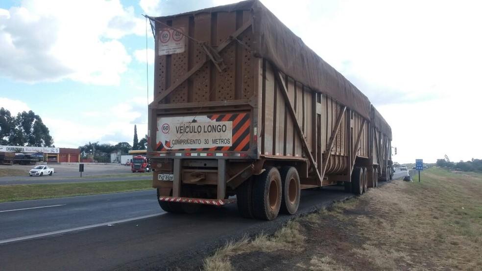 Caminhão que transportava cana foi atingido  (Foto: Fábio de Souza/EPTV)