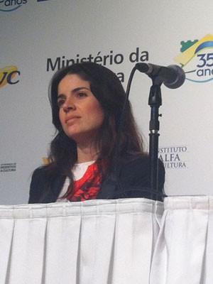 A produtora Roberta Medina na coletiva que lançou o espetáculo 'Rock in Rio – O musical' em São Paulo (Foto: Rodrigo Ortega/G1)
