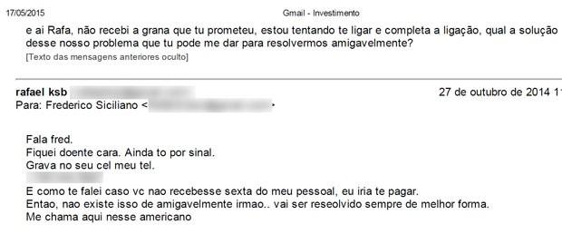 Troca de e-mails entre Frederico e Rafael em outubro de 2014 (Foto: Arquivo Pessoal / Frederico Siciliano)