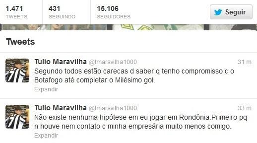 Pelo twitter, Túlio Maravilha desmente negociação com Vilhena (Foto: Twitter/Divulgação)