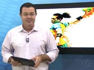 Madson Delano e as notícias do esporte (Foto: Reprodução/ TV Gazeta)