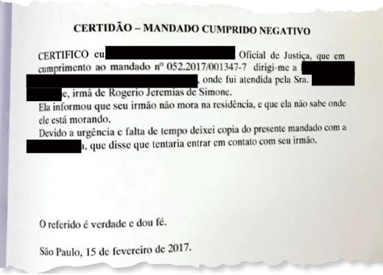 Certidão - mandado cumprido negativo  (Foto: Reprodução )
