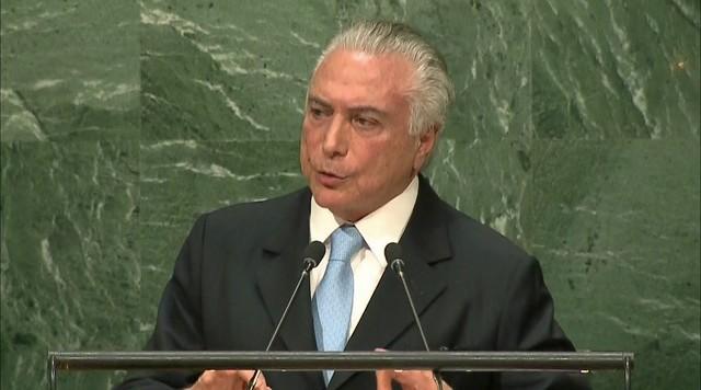 Michel Temer defende legitimidade do impeachment ao fazer discurso da ONU