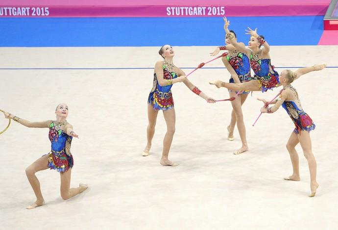 Conjunto Rússia Mundial de ginástica rítmica Stuttgart (Foto: Bernd Weissbrod / EFE/ EPA)