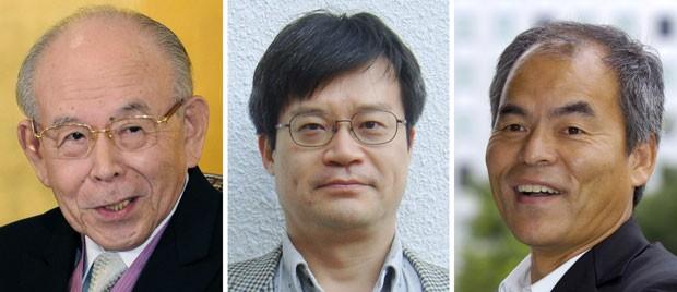 Akasaki, de 85 anos, Amano, de 54, e Nakamura, de 60, venceram o Nobel de Física (Foto: AP)