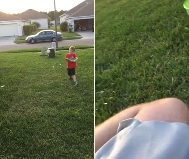 Menino levou a nocaute seu pai enquanto brincavam de jogar beisebol  (Foto: Reprodução/YouTube/Winn100's channel)