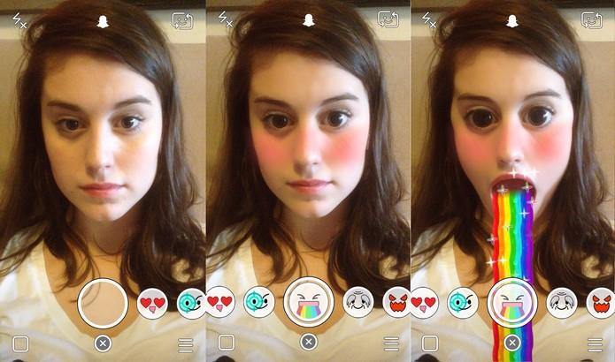 Nova função adiciona filtros divertidos em suas selfies (Foto: Reprodução/Maria Clara Pestre)