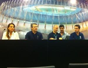 Integrantes da Secopafor, Secopa, Fifa e COL concedem coletiva sobre visita técnica (Foto: João Marcelo Sena)