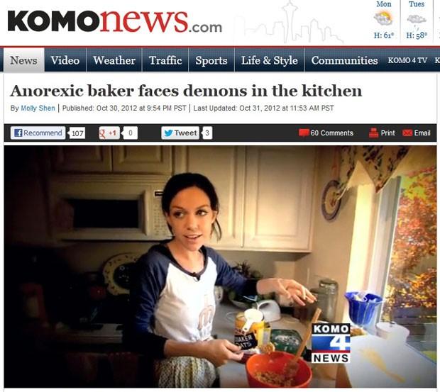 Camilla Kuhns é anoréxica e não consegue comer os biscoitos que faz (Foto: Reprodução/Komo News)