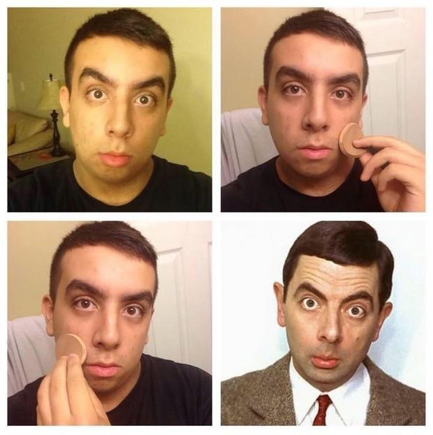 Make up transformation - Mr. Bean (Foto: Twitter/Reprodução)