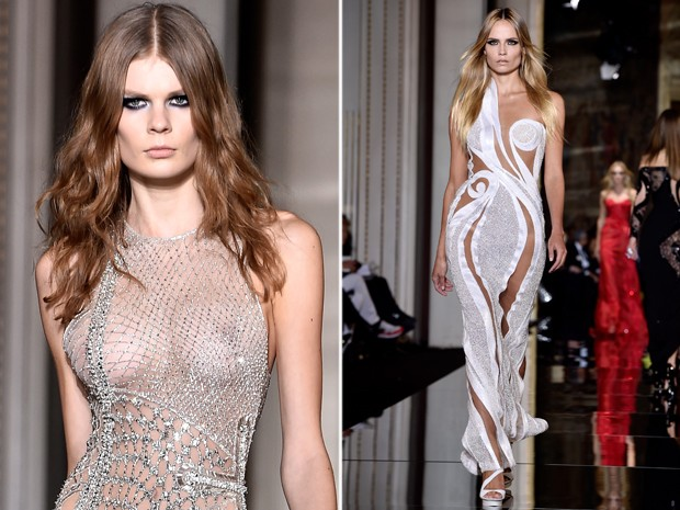 Versace desfila looks com decotes e transparncias em semana de moda parisiense (Foto: Getty Images)