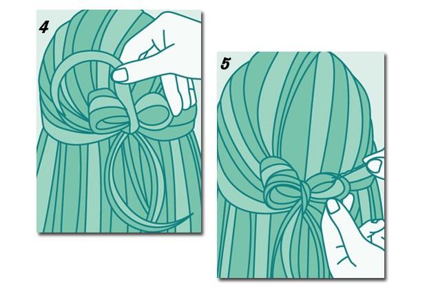 Veja como fazer o coque meio preso com laço (Foto: Peters e Zabransky)