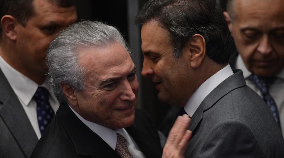 Michel Temer (PMDB), Presidente da República, e o senador Aécio Neves (PSDB) (Foto: Wikimedia Commons)