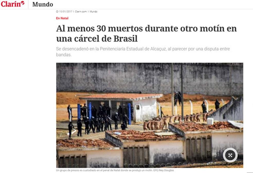 'Clarín' diz que há pelo menos 30 mortos em rebelião (Foto: Reprodução/Clarín)