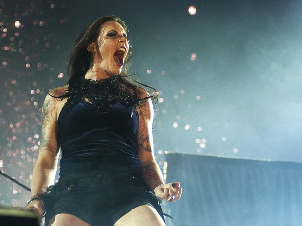 Floor Jansen, vocalista do Nightwish, no Palco Mundo (Foto: Luciano Oliveira/G1)