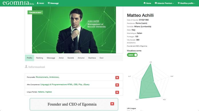 Perfil de Matthew Achilli, fundador do Egomnia, mostra layout da rede social (Foto: Reprodução/Egomnia)
