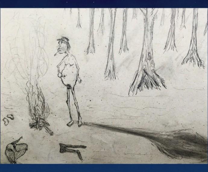 Junior Lima apresenta alguns de seus desenhos no Programa do Jô (Foto: Reprodução)