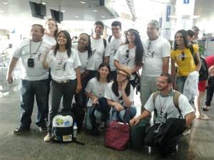 Jovens tocantinenses embarcam para a JMJ (Foto: Patrícia Mayara Silva/Arquivo Pessoal)