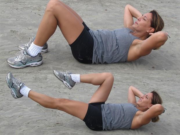 Algumas opções de exercícios abdominais (Foto: Mariane Rossi/G1)