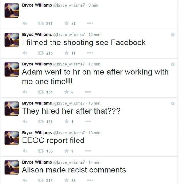 Bryce Williams postou comentários no Twitter afirmando que 'Alison fez comentários racistas' e que Adam o 'denunciou no RH depois de ter trabalhado junto apenas uma vez' (Foto: Reprodução/Twitter)