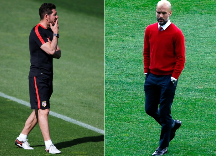 Simeone e Guardiola na véspera de Atlético de Madrid x Bayern de Munique (Foto: Montagem sobre fotos da Reuters)