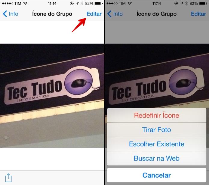 Alterando a foto do grupo no WhatsApp para iOS (Foto: Reprodução/Helito Bijora)