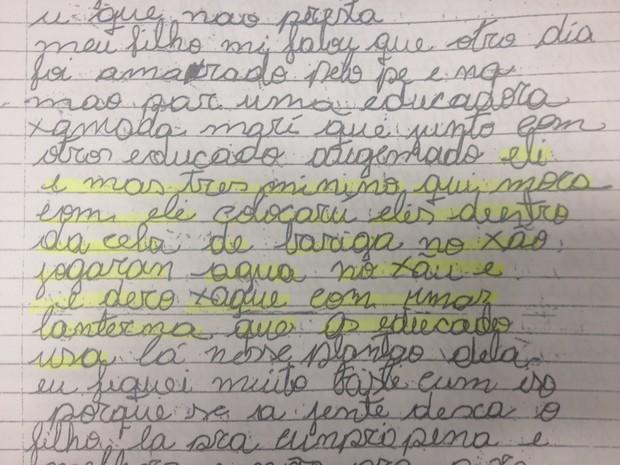 Trecho da carta descreve como jovem foi torturado  (Foto: Dyepeson Martins/G1)