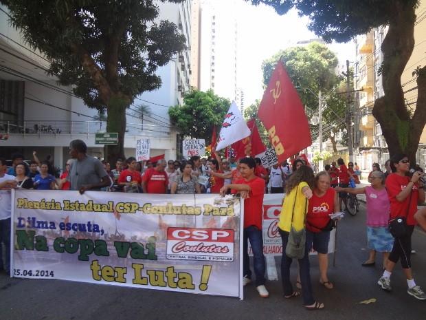 Manifestantes seguem para a sede da pefeitura de Belém, na avenida Nazaré, no centro da capital. (Foto: G1 PA)