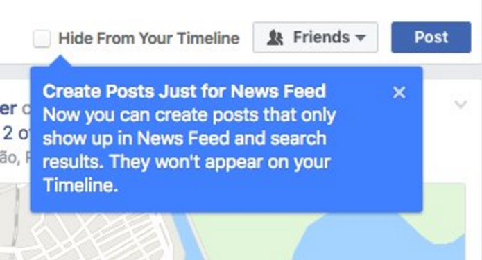 Posts do Facebook poderão ser escondidos da linha de tempo diretamente na criação (Foto: Reprodução/The Next Web)