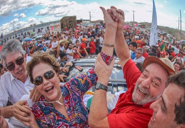 Os ex-presidentes Dilma Rousseff e Luiz Inácio Lula da Silva visitam a Paraíba, juntamente com o senador Humberto Costa (Foto: Ricardo Stuckert/Instituto Lula)