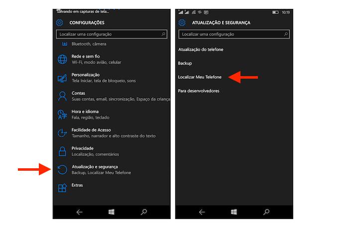 Acessando as configurações para a localização por GPS do Windows 10 Mobile (Foto: Reprodução/Marvin Costa)