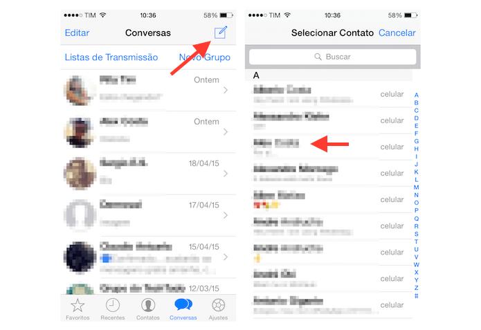 Abrindo um chat com um novo contato no WhatsApp para iPhone (Foto: Reprodução/Marvin Costa)