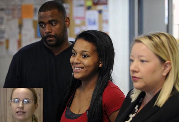 Juíza Lu Ann Ballew (foto pequena) havia impedido que o casal Jawaan McCullough e Jaleesa Martin colocasse o nome de 'Messiah' no filho (Foto: Amy Smotherman Burgess/The Knoxville News Sentinel/AP)