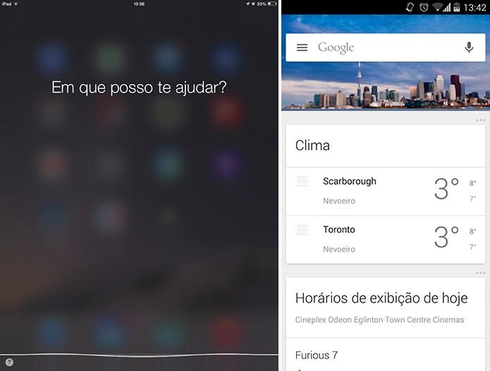 Siri e Google Now estão disponíveis em português com características próprias (Foto: Reprodução/Elson de Souza)