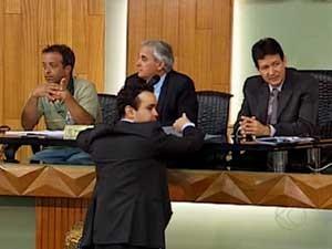 Alguns vereadores na Câmara de Uberlândia (Foto: Reprodução / TV Integração)